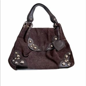 Moschino brown signature canvas and leather purse